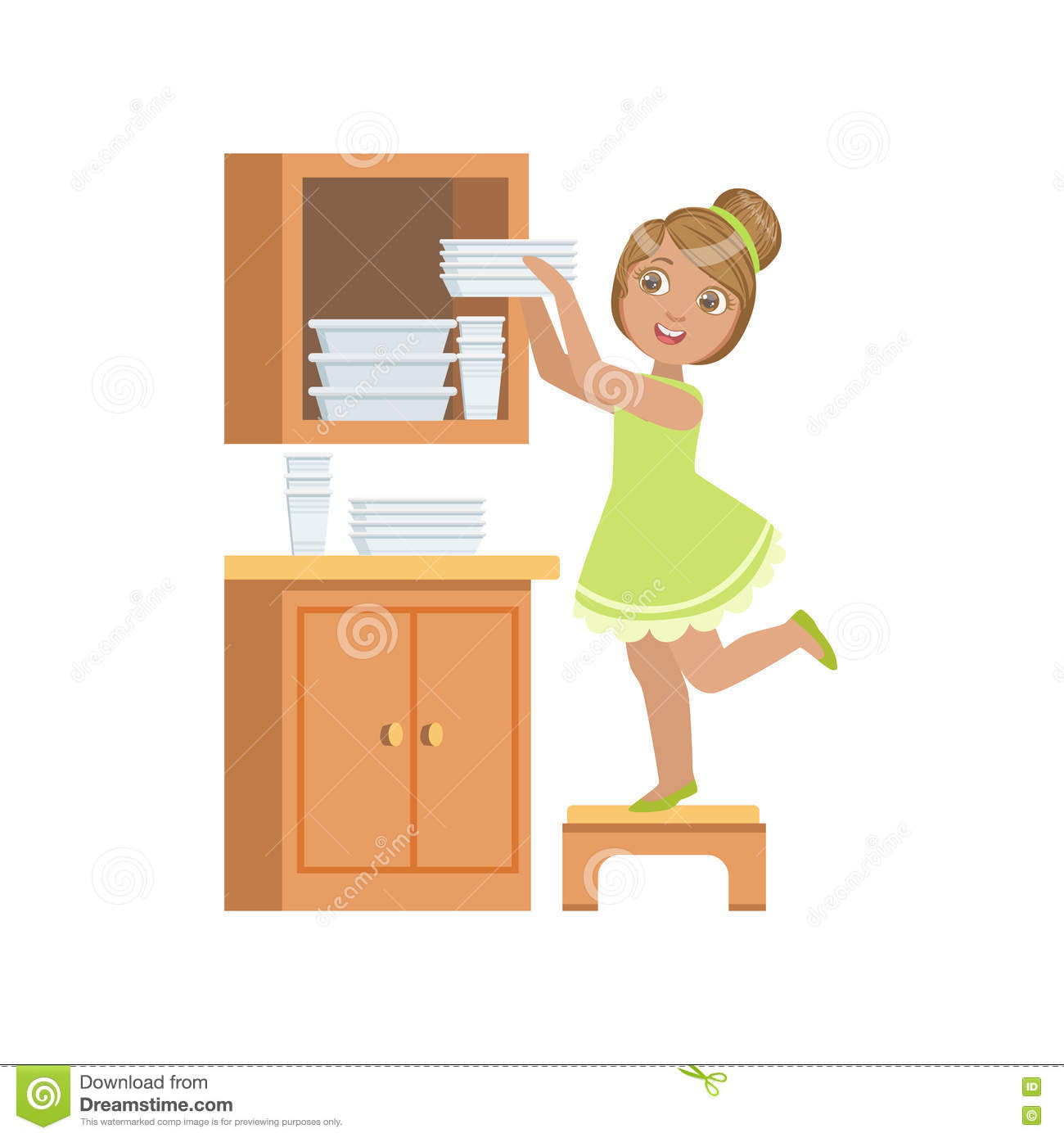 Girl Putting The Plates In Cupboard Stock Vector Image 75335902