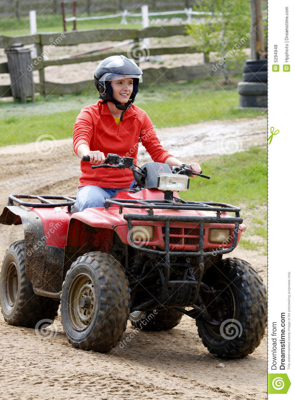 Girl In Quad Stock Photo  Image Of Crossing  Competition