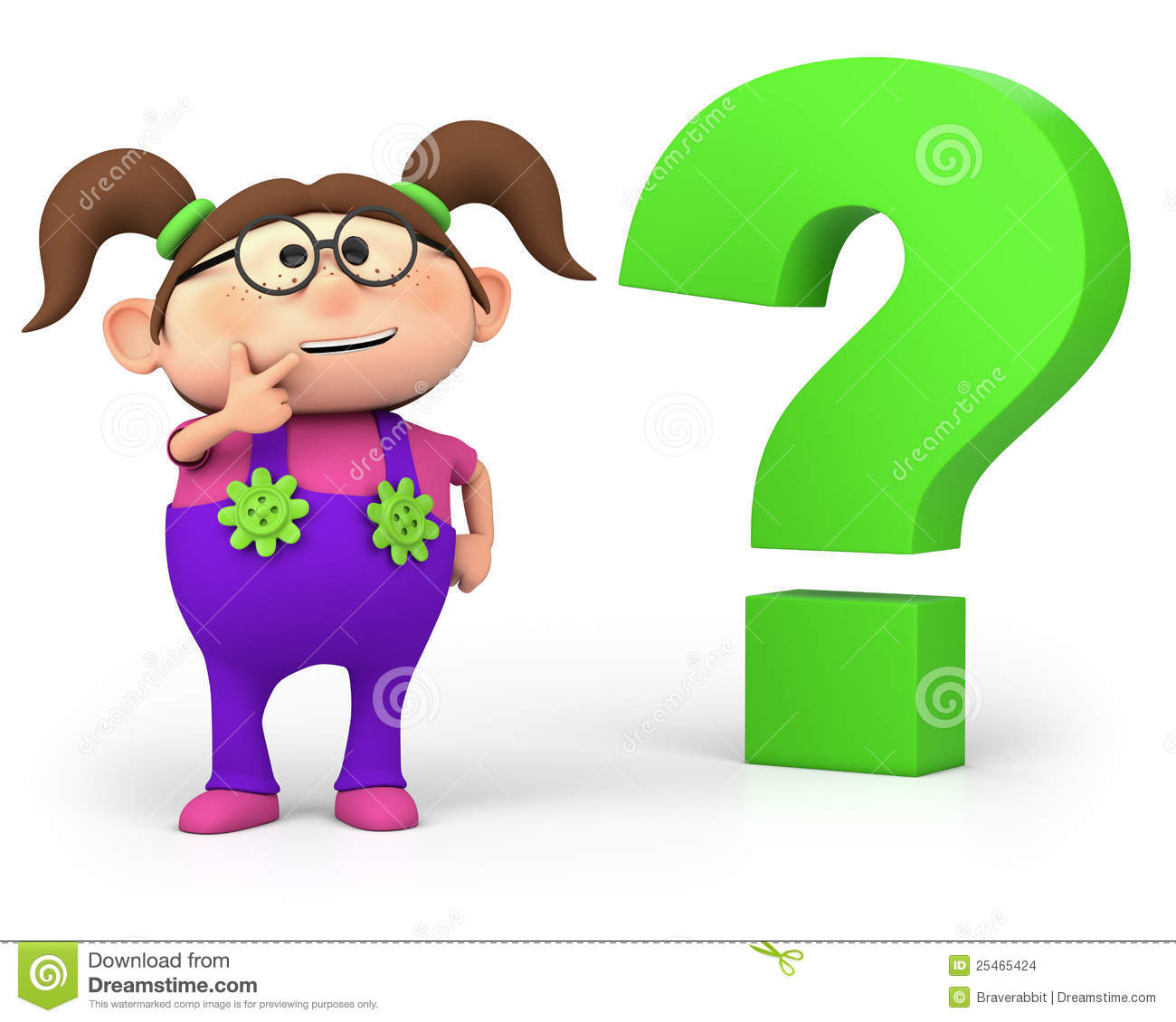 ... little cartoon girl with question mark - high quality 3d illustration