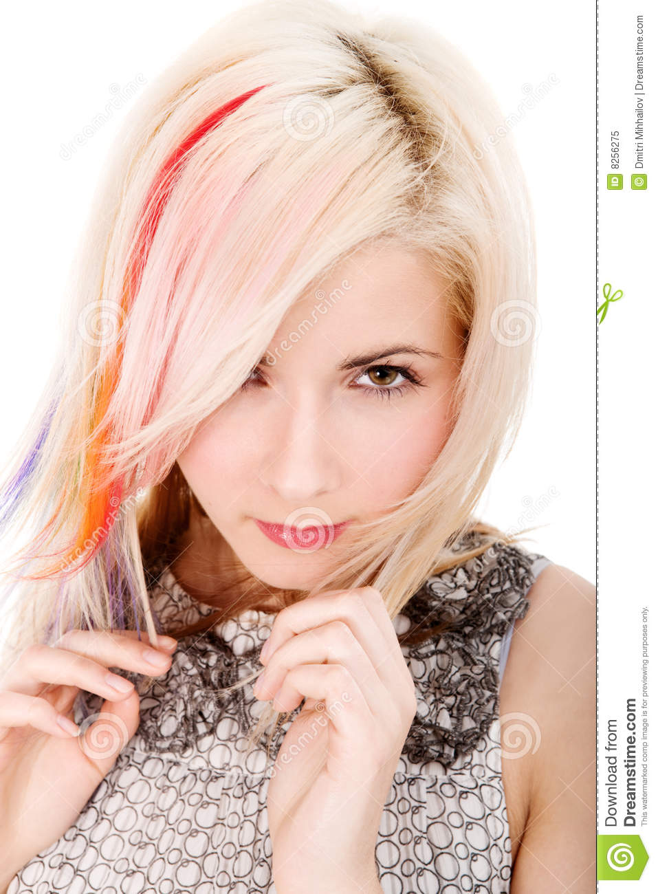 Girl with rainbow haircut
