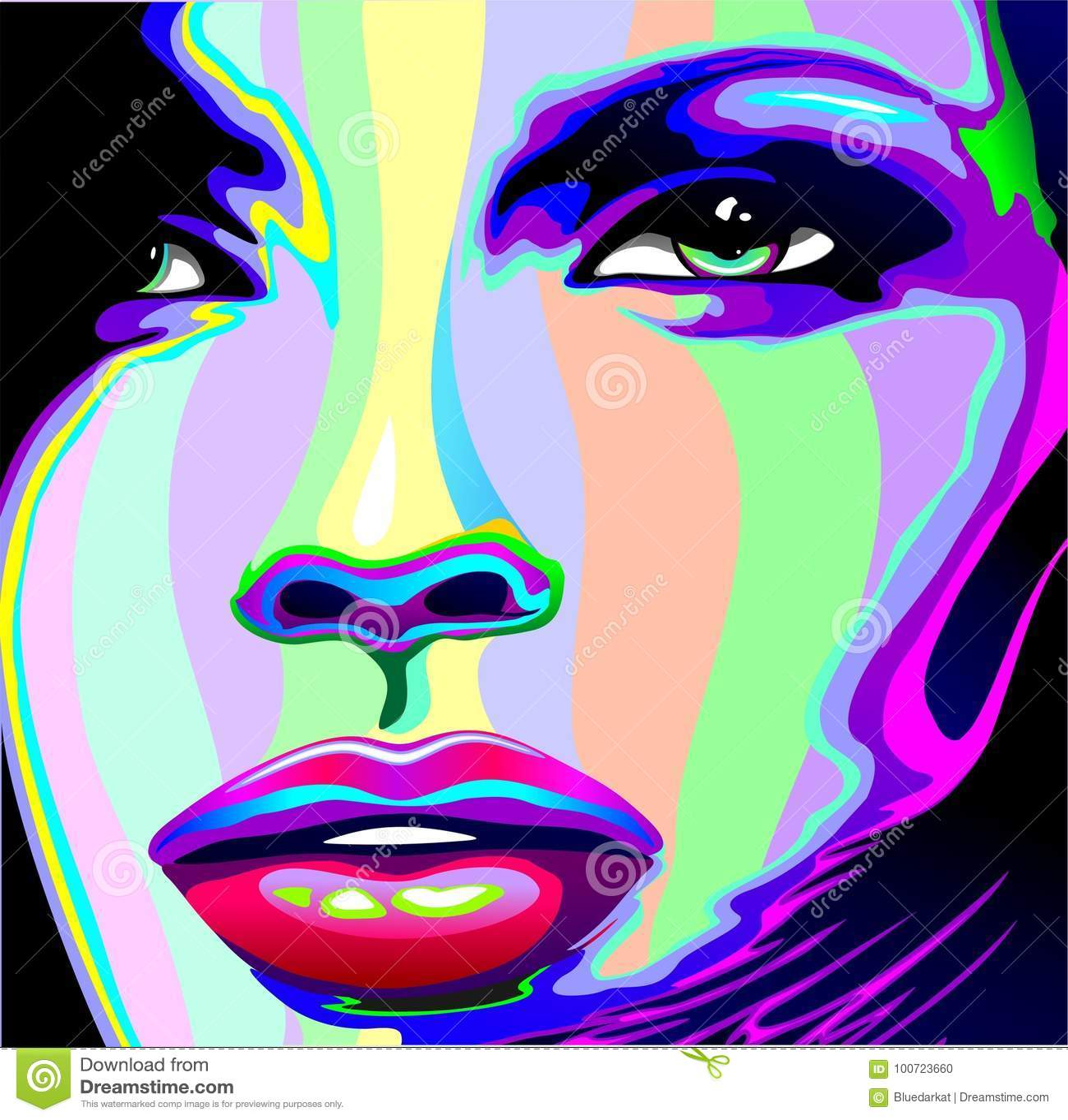 girl rainbow psychedelic portrait stock vector image 100723660. Black Bedroom Furniture Sets. Home Design Ideas