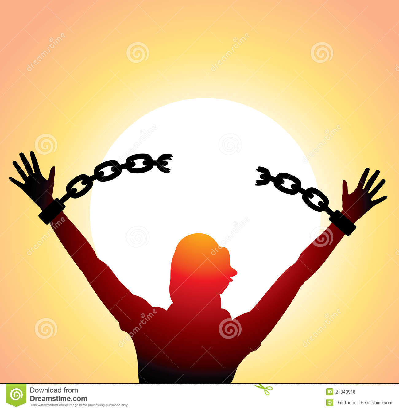Broken Chains Girl With Raised Hands And Stock Illustration