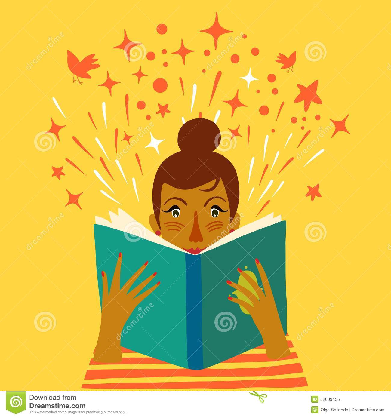 Girl Reading A Book Cartoon Illustration Stock Vector ...