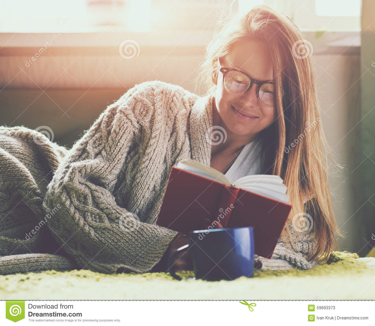 Girl reading book with coffee