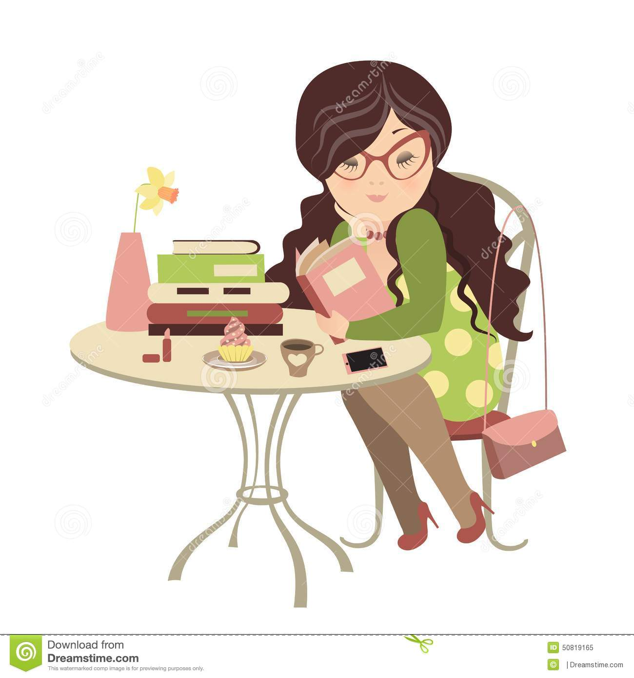 Vector Illustration. Girl Reading A Book Vector ...