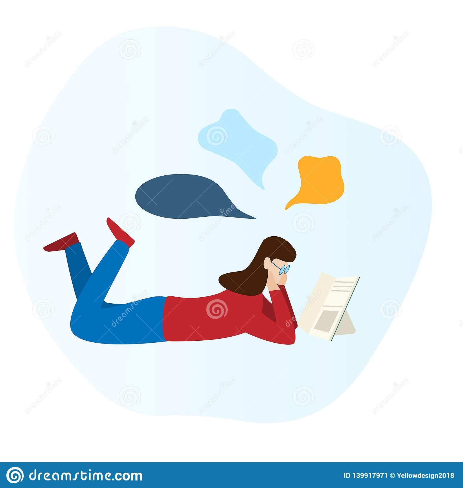 Girl is reading a book and laying on the floor