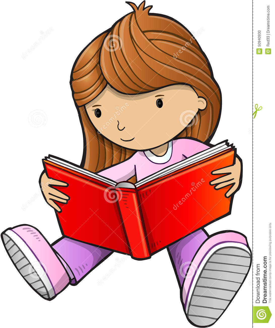 Girl Reading Book Vector Stock Vector - Image: 50940930
