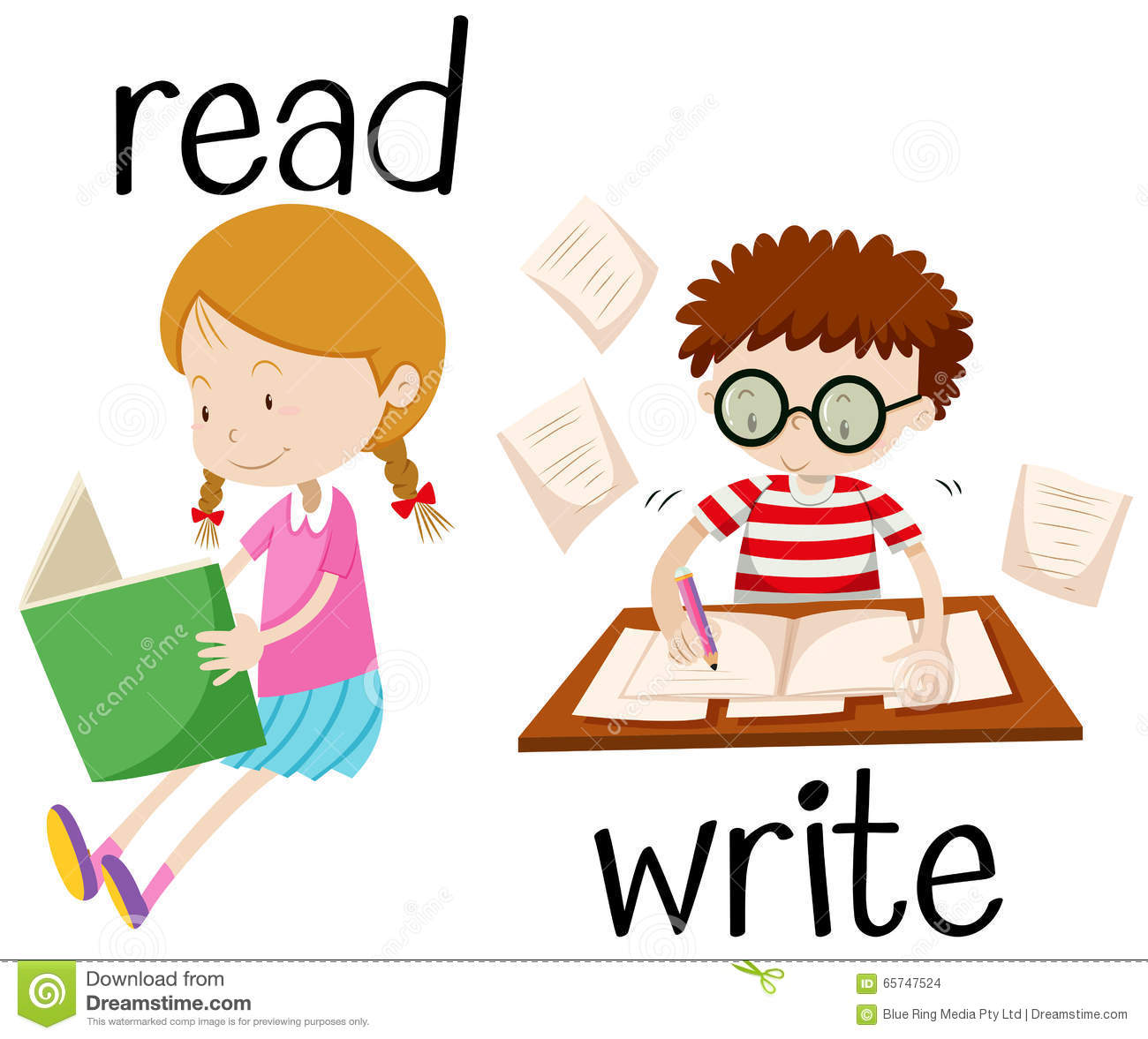 girl reading and boy writing stock vector image 65747524 school books free clipart school books clipart black and white