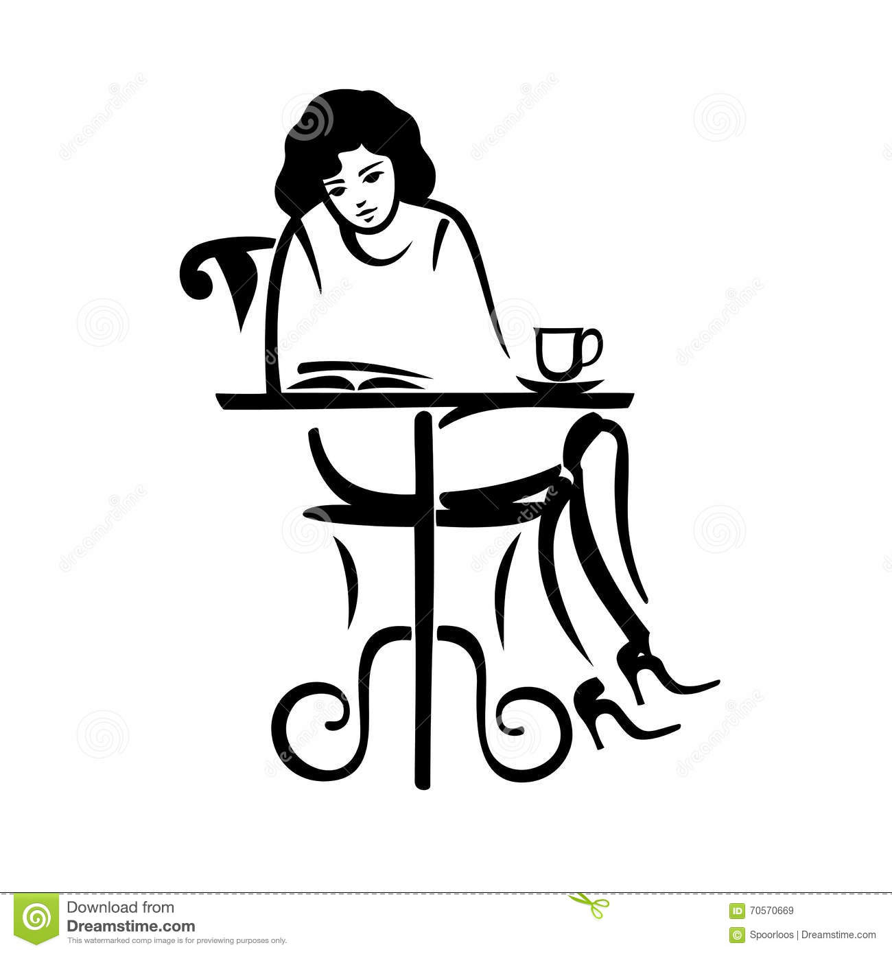 girl reading in a cafe stock vector  illustration of