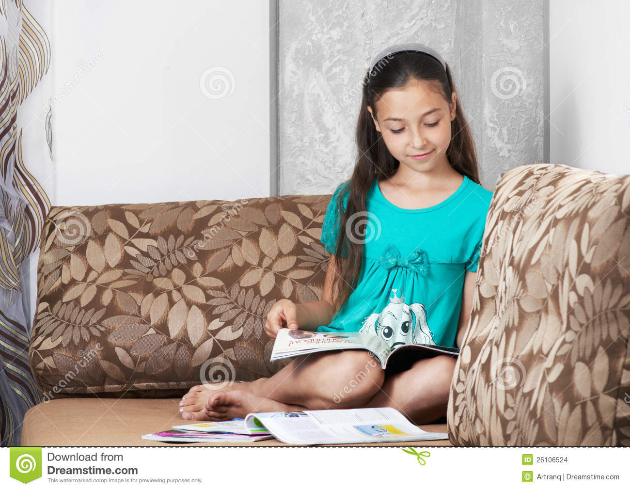 Calendar Girl June Read Free : The girl is reading a magazine stock images image