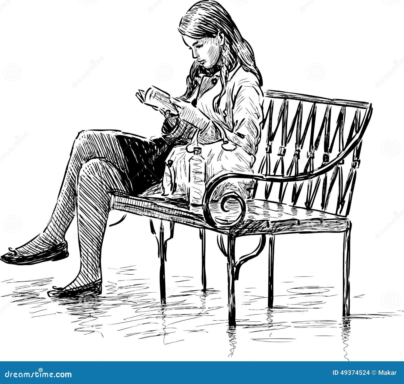 Girl Reading A Park Bench Stock Vector Image