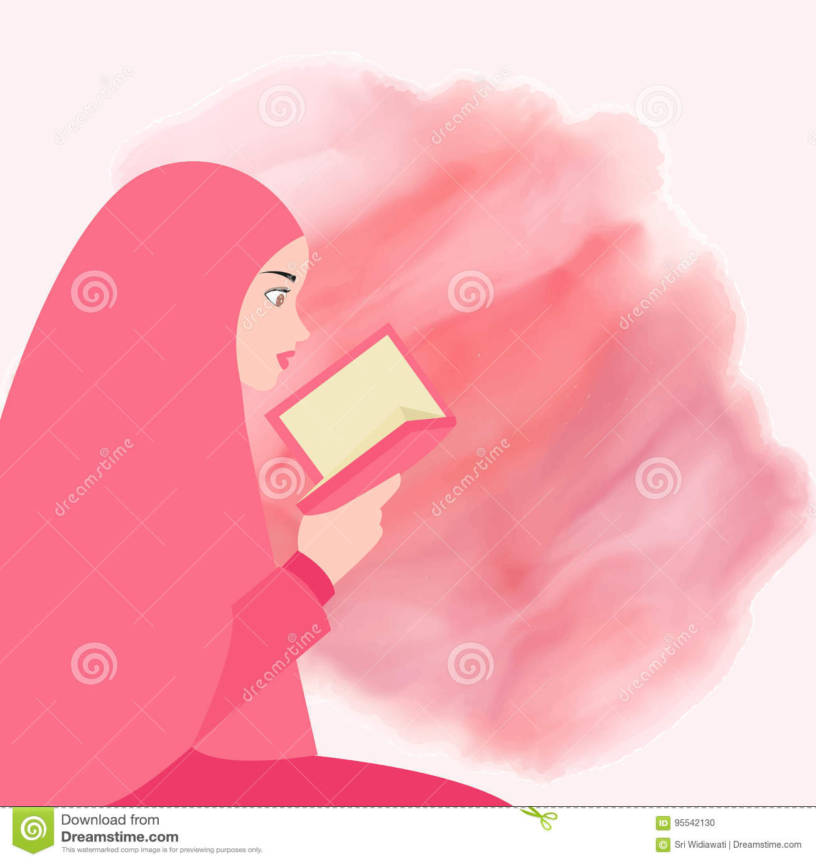 Girl reading quran holy book of islam wearing veil