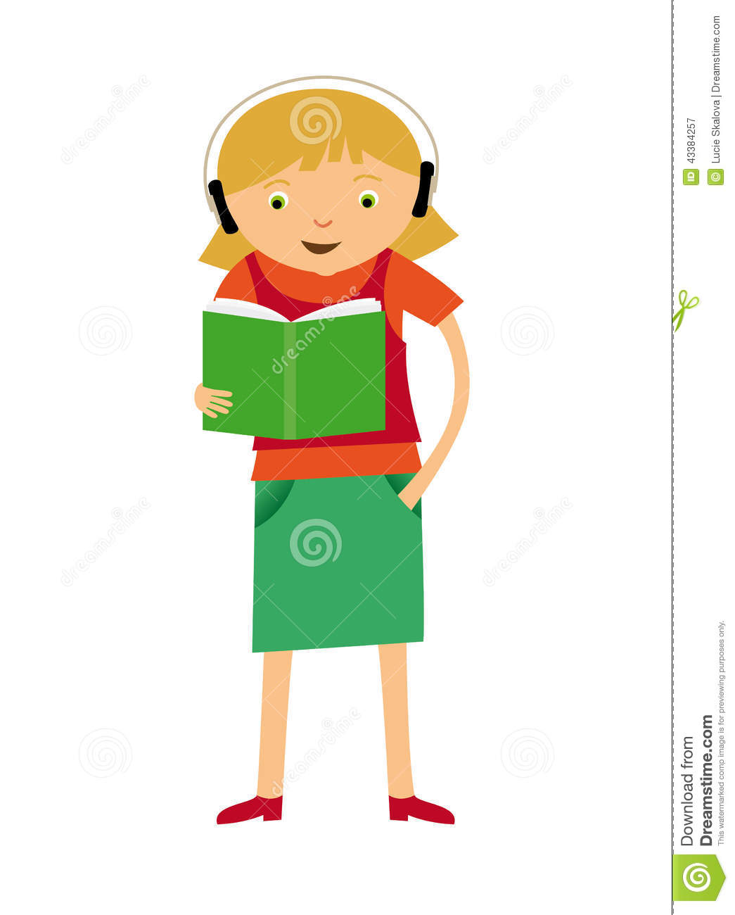 Girl Reading Stock Vector - Image: 43384257