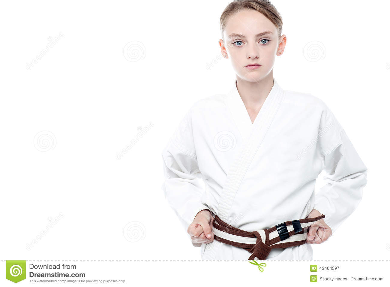 Girl ready to practice karate