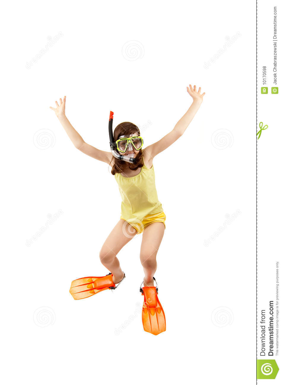 Girl ready to swim and dive