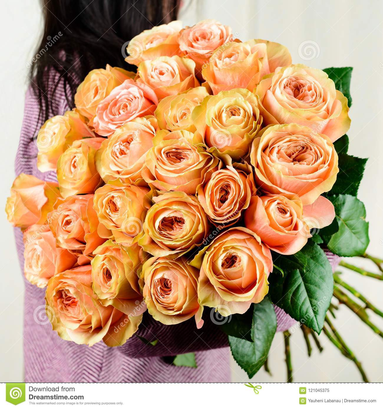 Girl Received Beautiful Bouquet Of Yellow Roses Concept Of Surprise