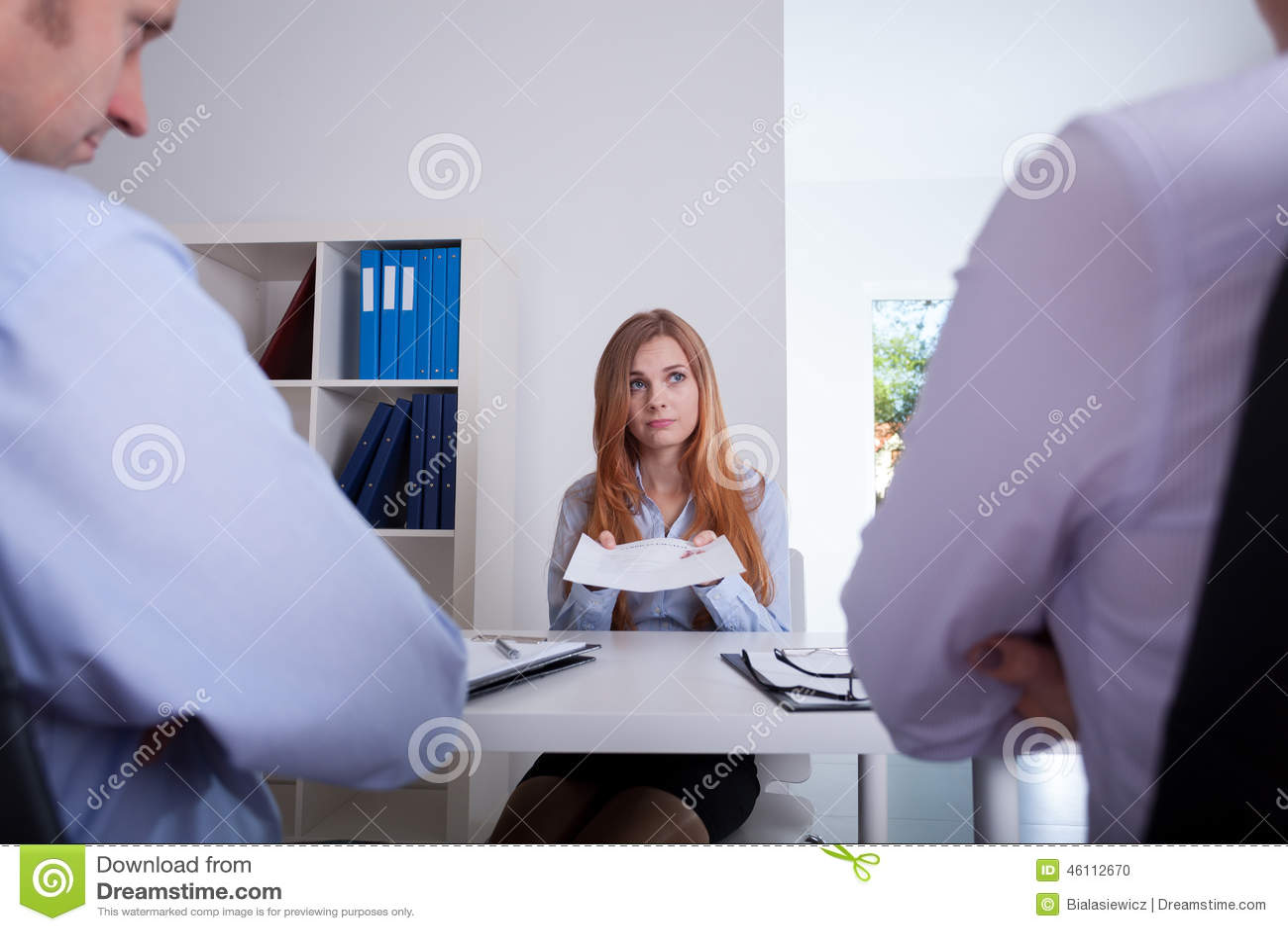 Girl on recruitment meeting