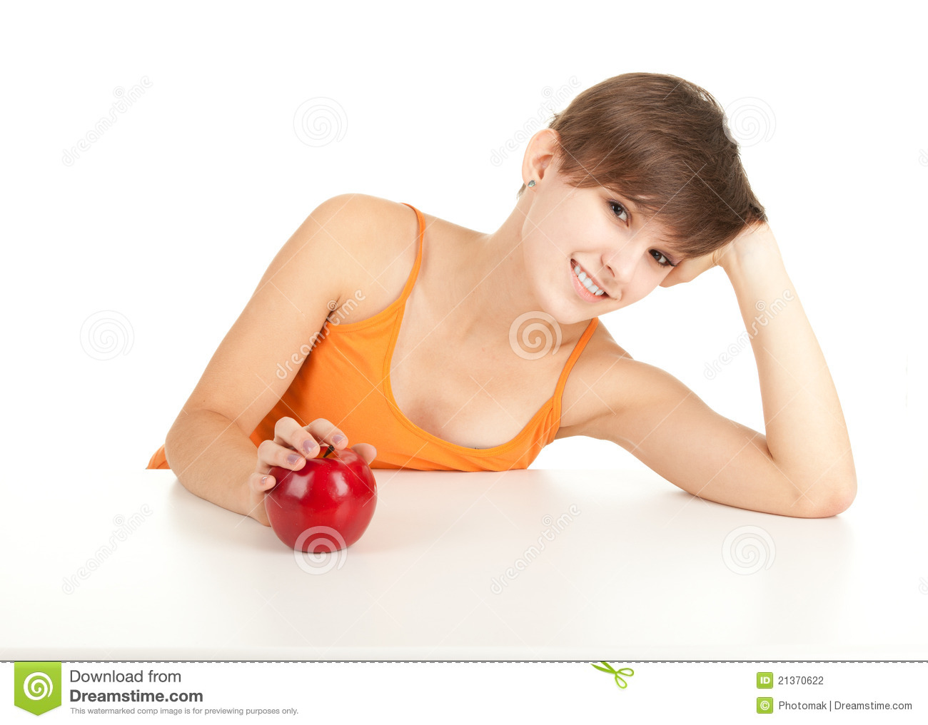 wonderful Girl Table Part - 5: Girl with red apple leaning on table