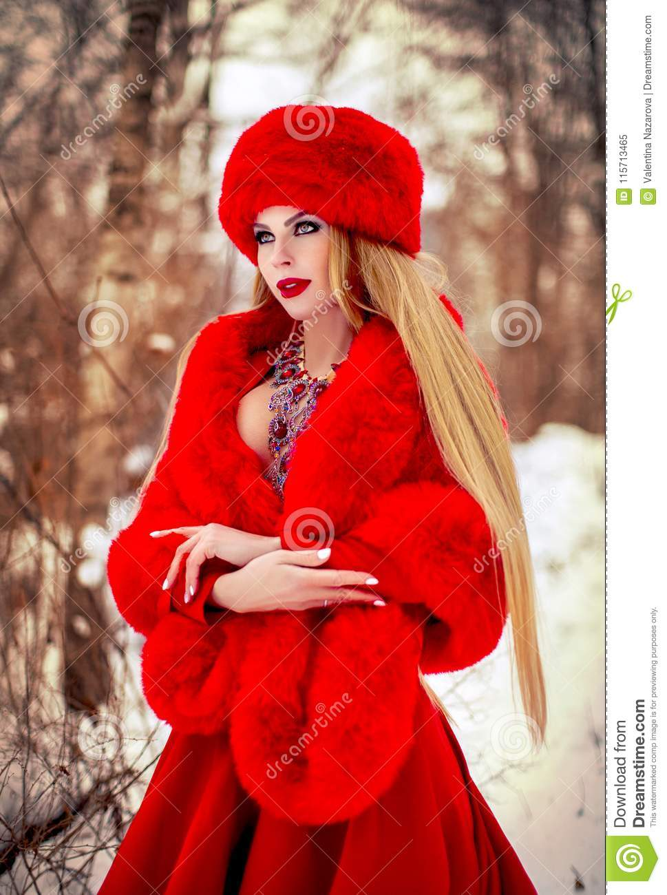 c80c64edc Girl In Red Dress In Winter Forest Stock Image - Image of white ...