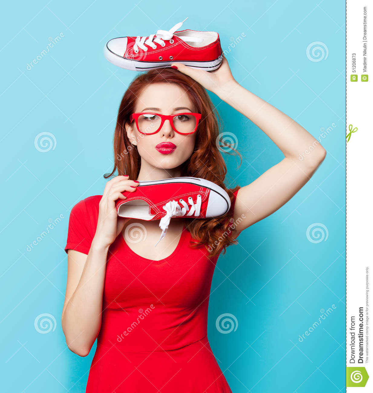 Girl In Red Dress With Gumshoes Stock Photo - Image: 51206873