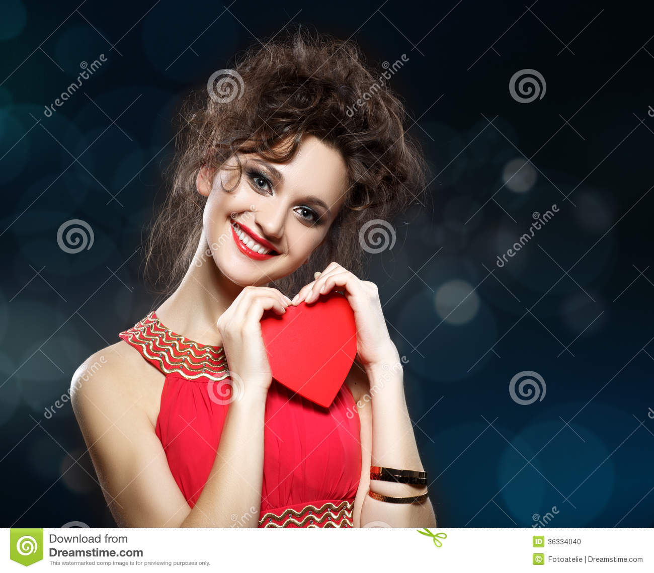 Girl In Red Dress Keeps The Heart Concept Of Valentine S Day Stock