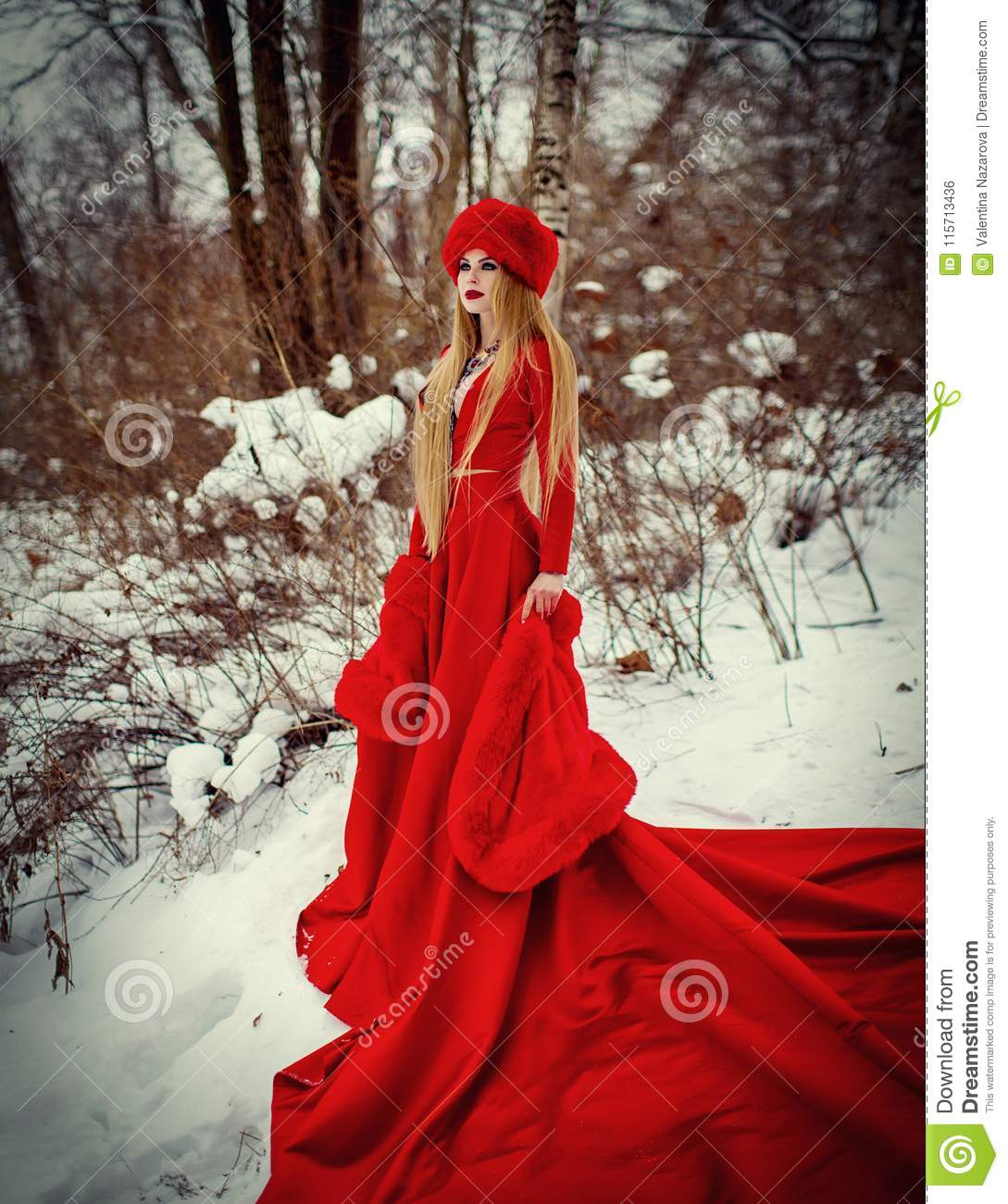 55589beaf Girl In Red Dress In Winter Forest Stock Photo - Image of blonde ...