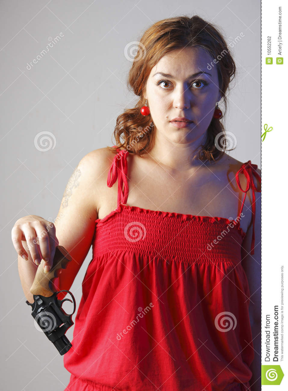 Got Red Nails For Prom Jems And Sparkles Were Added: Girl In Red Has Got A Gun Stock Photo. Image Of People
