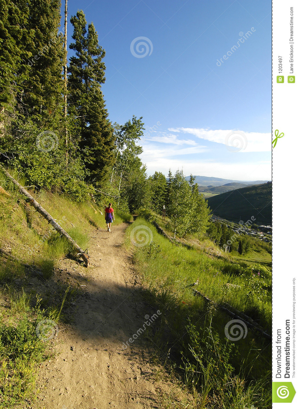 Girl with Red Shirt Hiking a Trail in the Forest