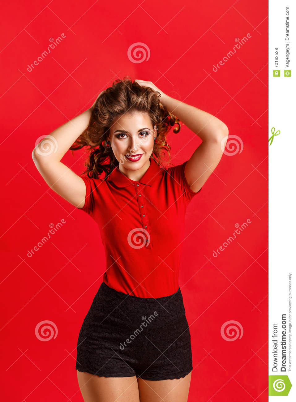 Girl In Red Shirt And Shorts Stock Photo - Image: 70162528