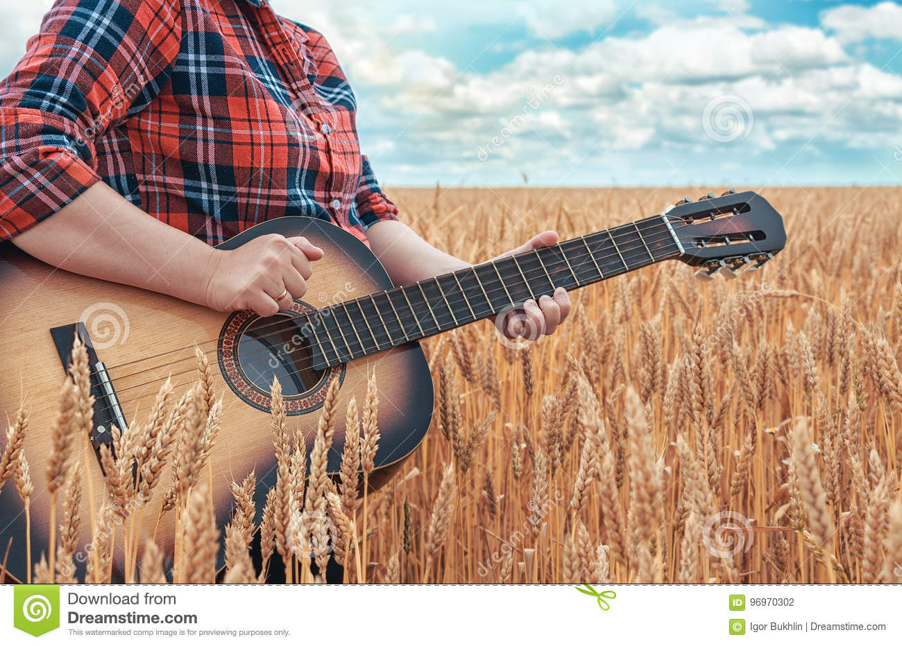 Download Girl In The Red Shirt In Wheat Field Plays The Acoustic Guitar. Beautiful Nature At Bright Sunny Summer Day. Stock Photo - Image of hipster, girl: 96970302