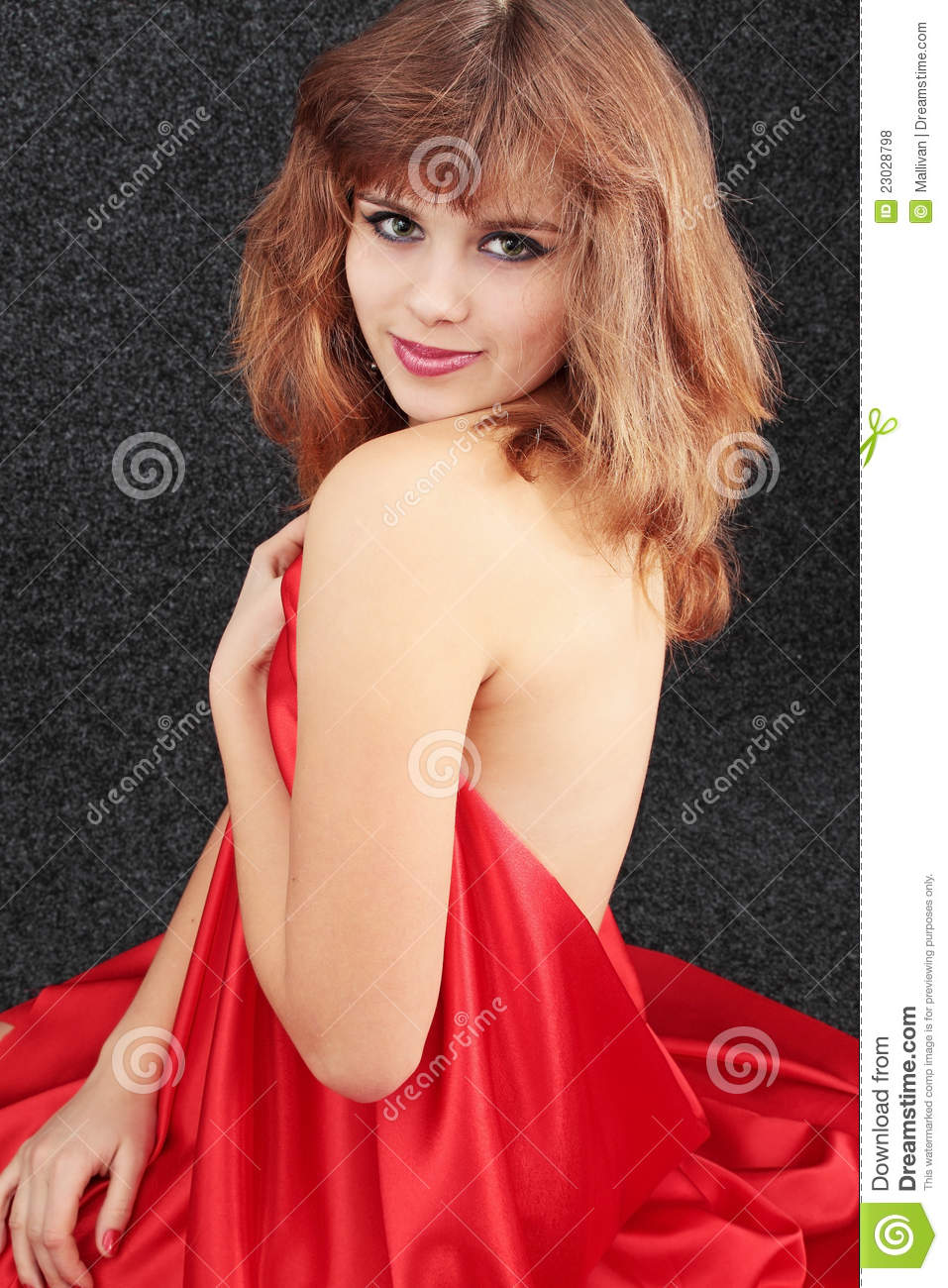 Girl in red silk