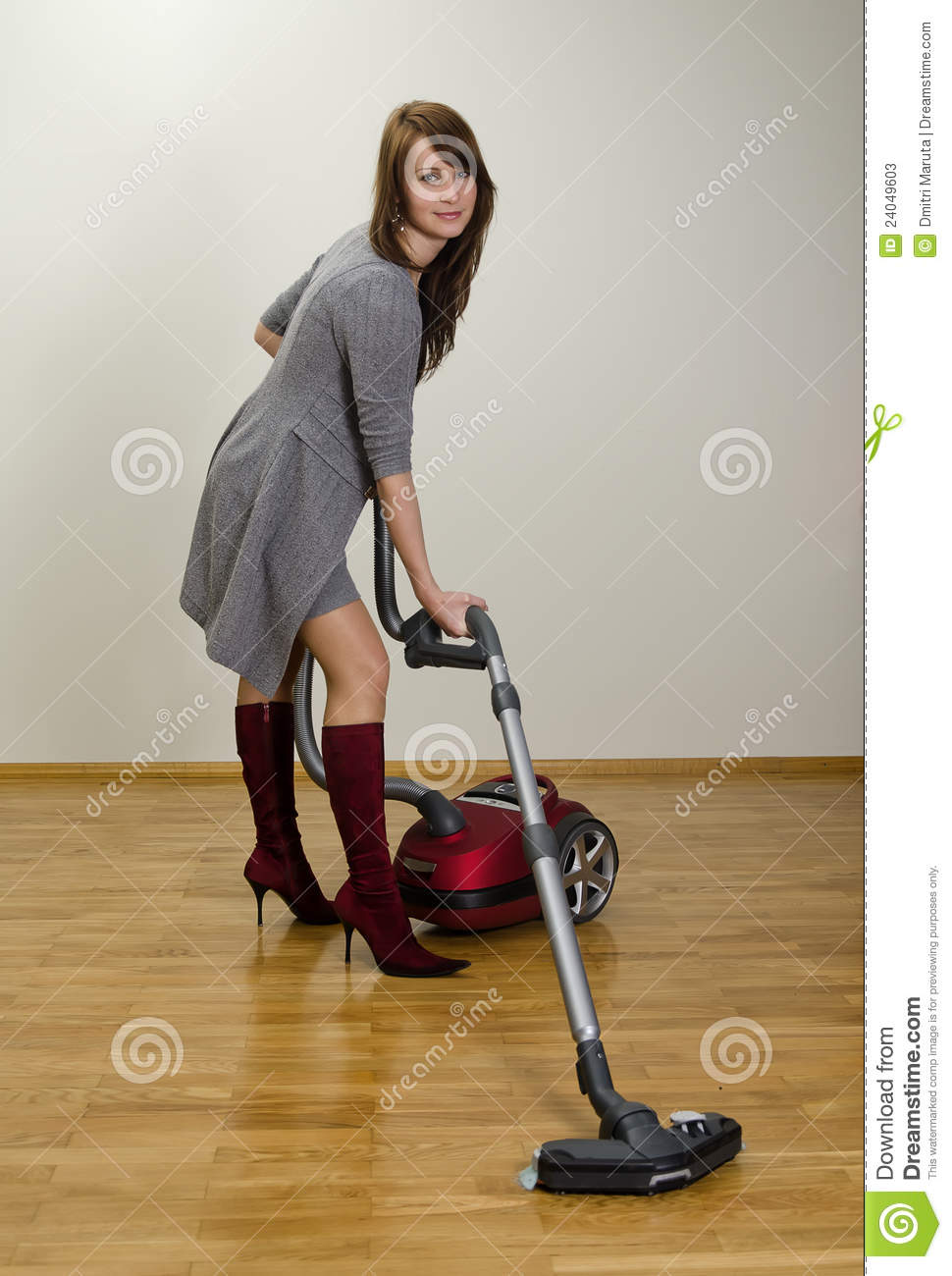 young girl cleaning house