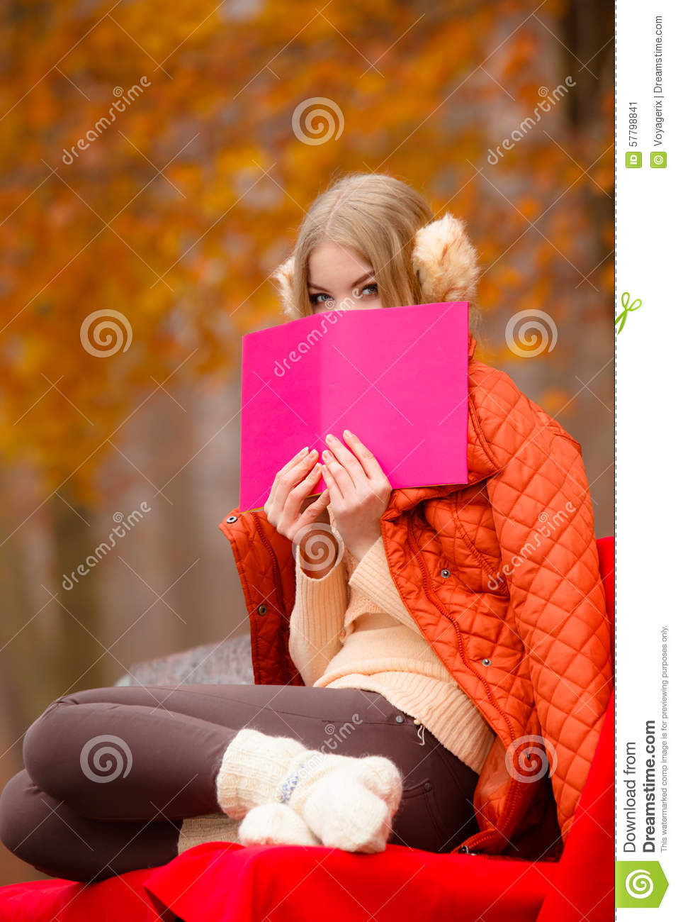 Girl Relaxing In Autumn Park Reading Book Stock Image - Image 57798841-3460