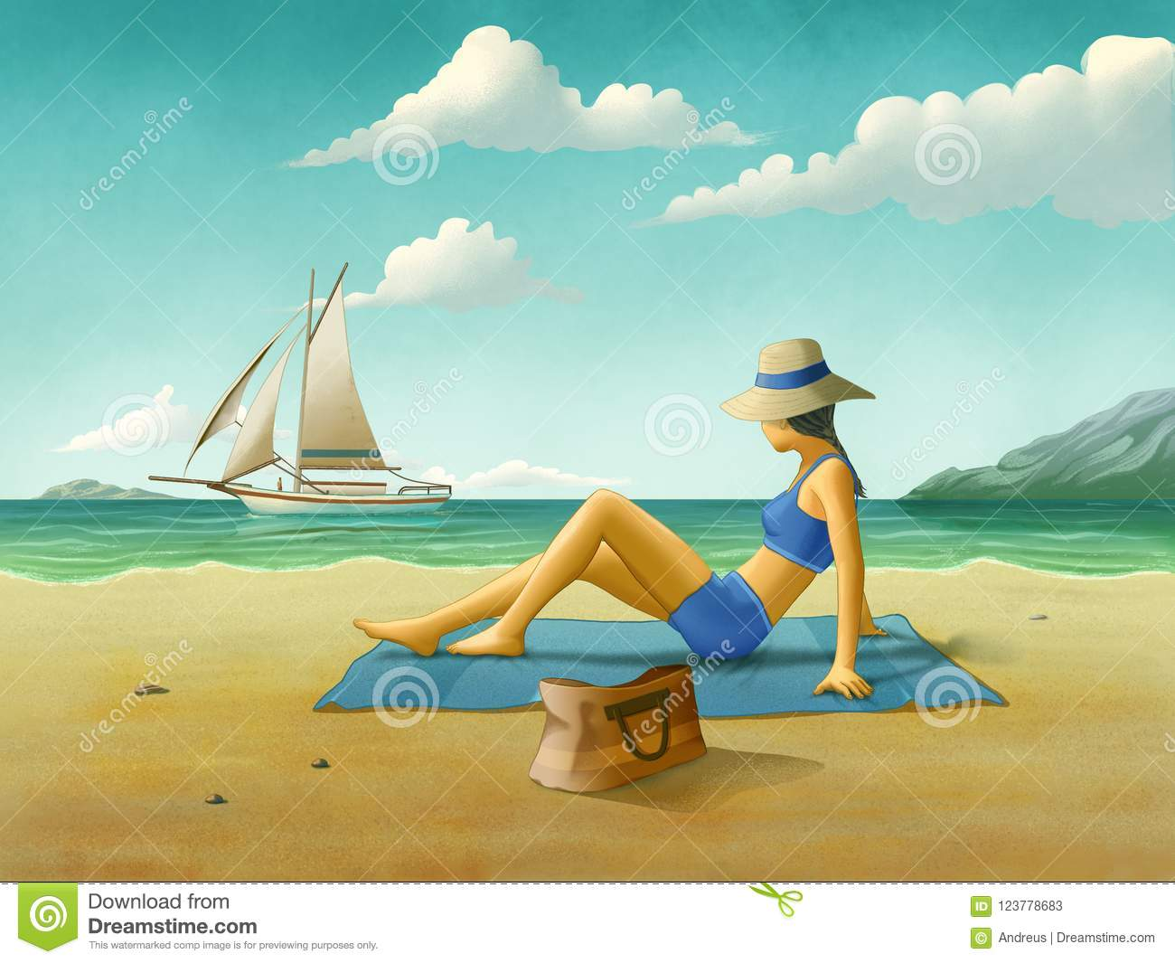 girl relaxing at the beach stock illustration illustration of relax