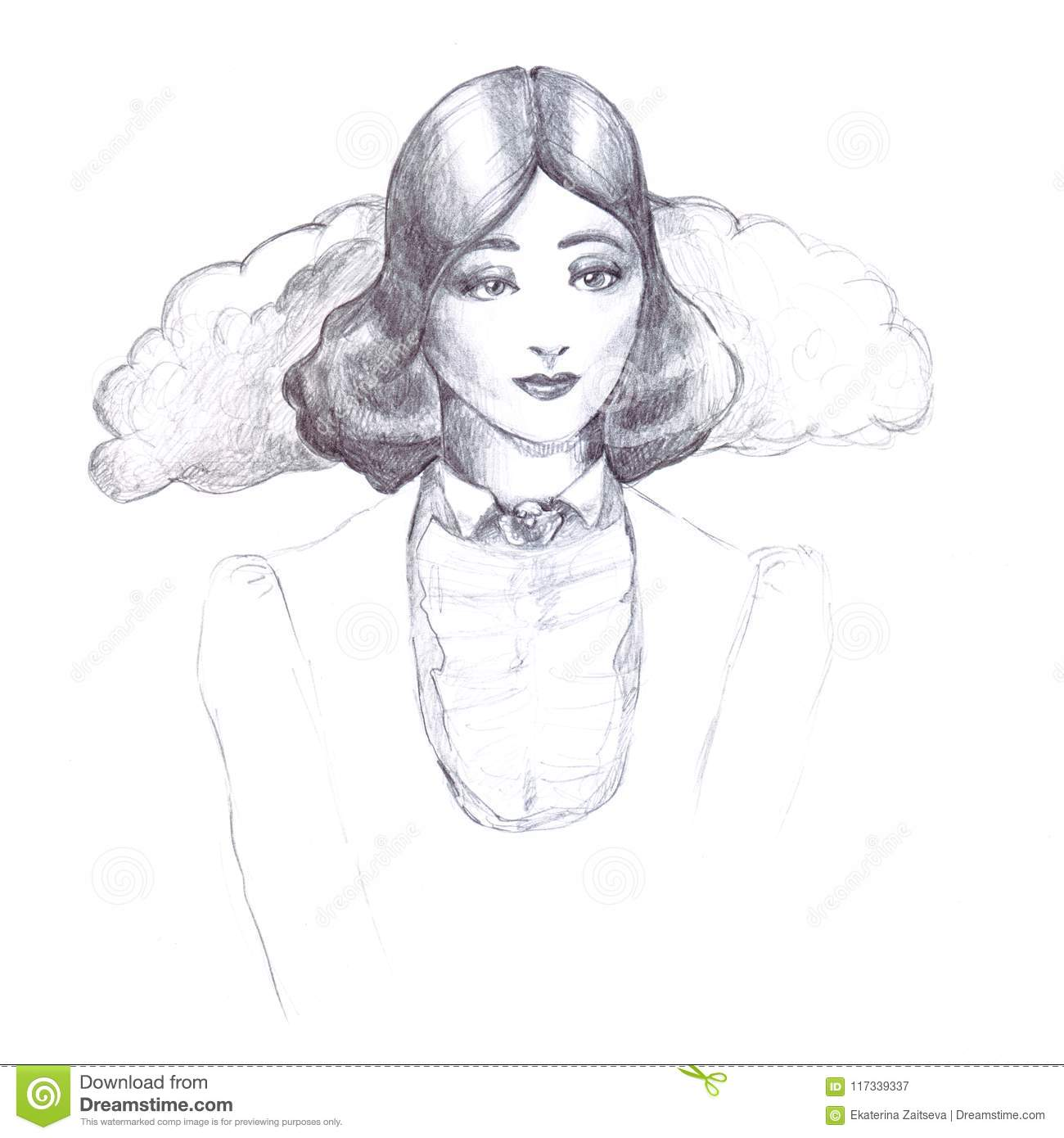 Girl retro vintage pencil sketch outline old fashioned collar flounce jacket hairstyle thirties on a white background line illustration drawing