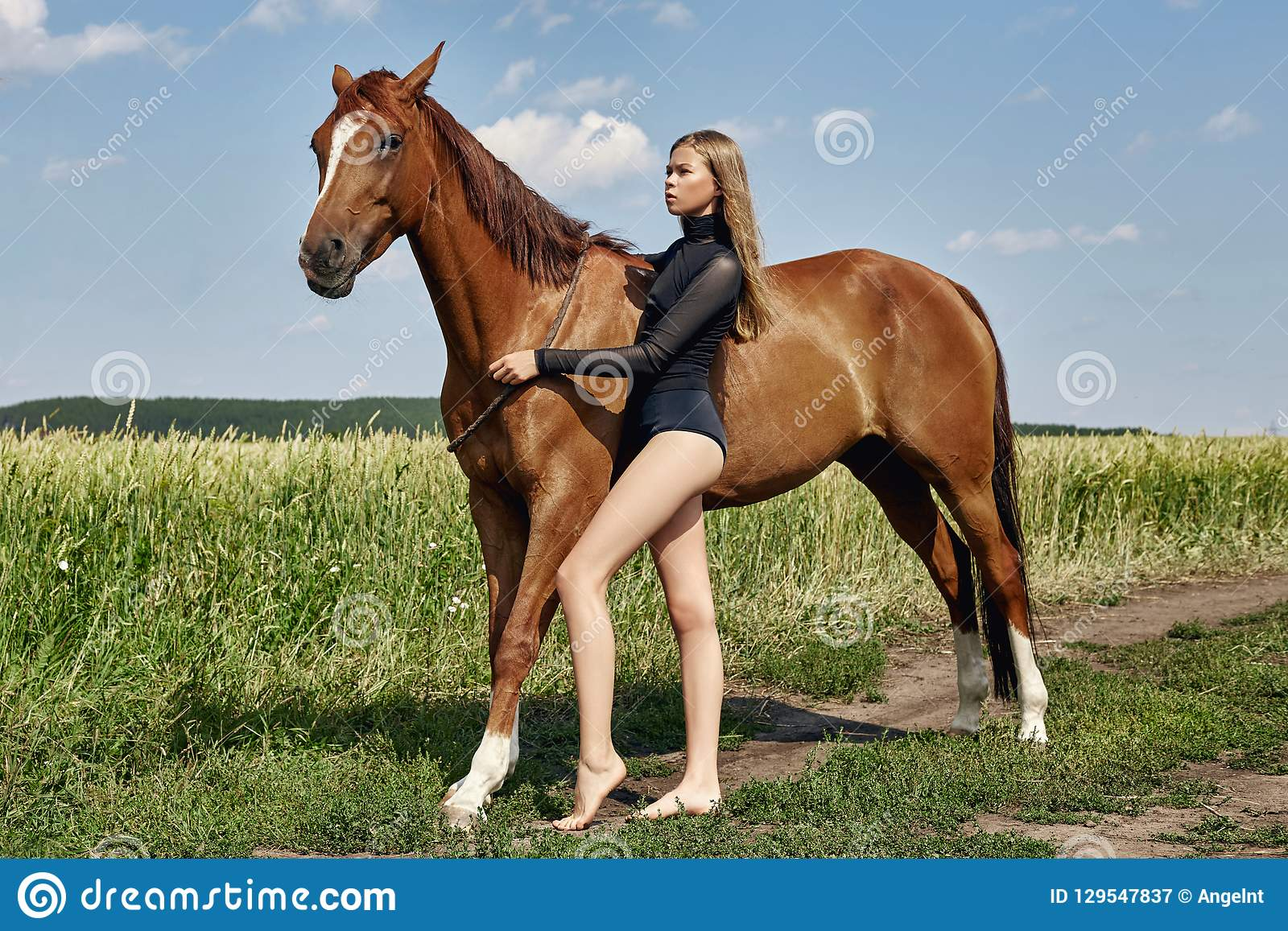 Girl rider stands next to the horse in the field. Fashion portrait of a woman and the mares are horses in the village in the grass