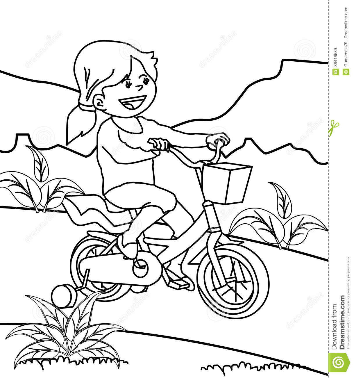 Girl Riding Bicycle Coloring Page Stock Illustration