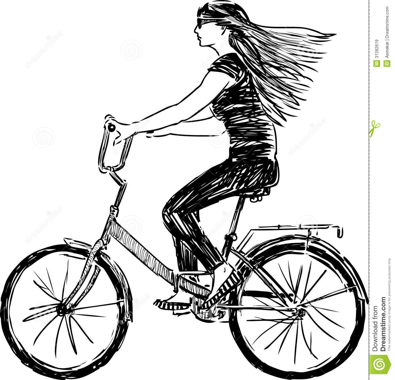 Girl Riding A Bicycle Stock Vector Illustration Of Drawing 31282619
