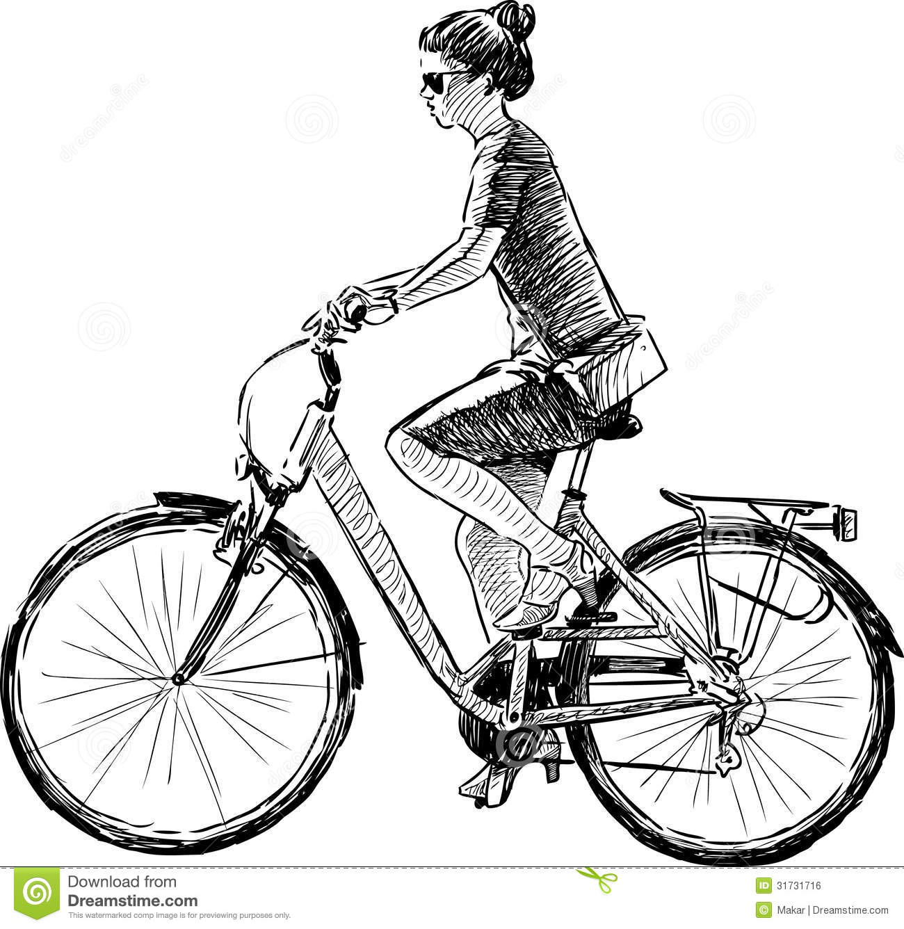 Girl Riding A Bike Royalty Free Stock Image - Image: 31731716