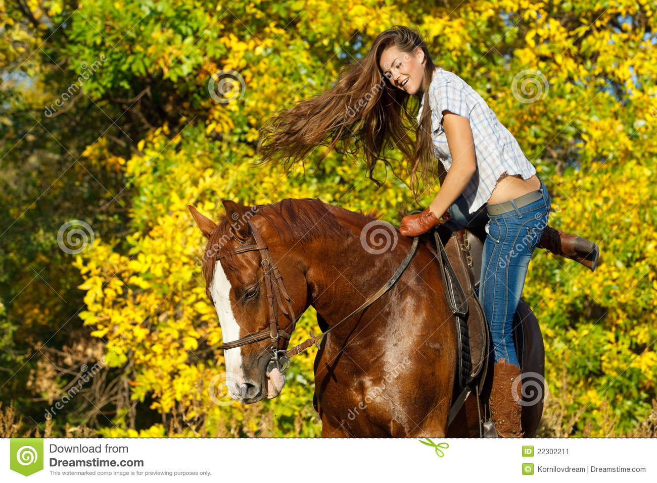 Girl Riding A Horse Stock Image - Image: 22302211