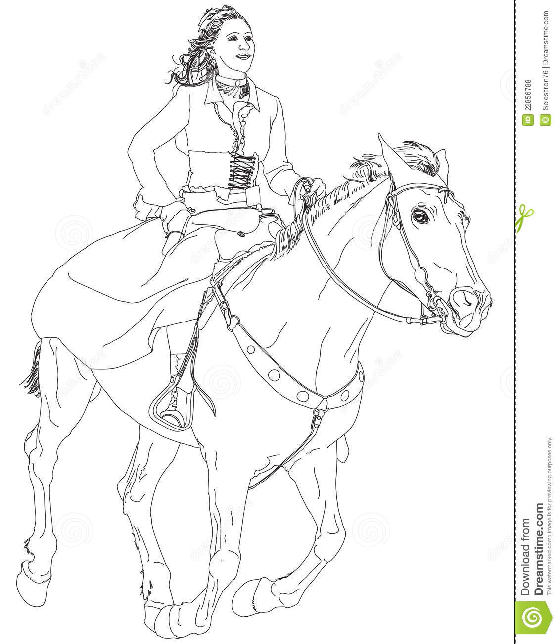 Girl riding a horse stock vector. Illustration of female - 22856788