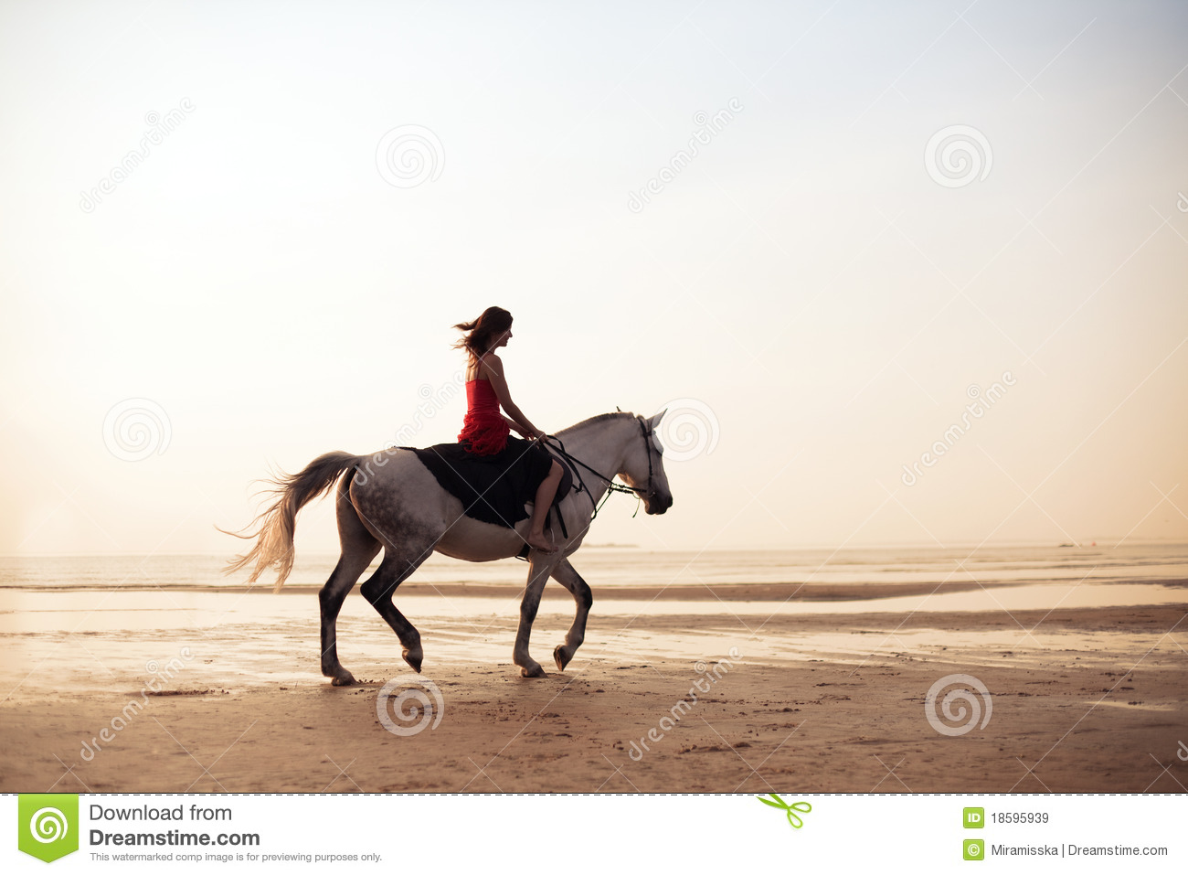 best website 9c3ed aa4c8 Girl riding a horse on the background of the sea