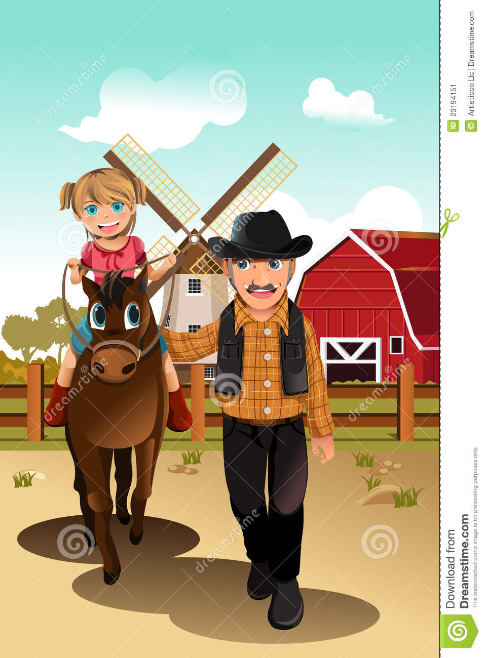 Girl Riding Horse With Grandfather Stock Vector