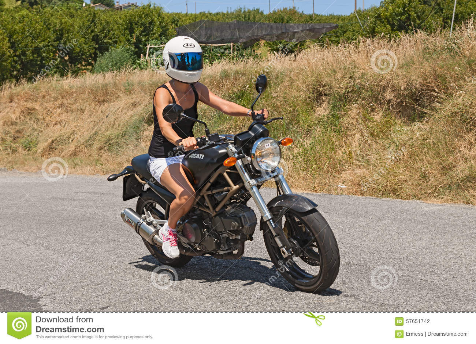 Girl Riding Italian Motorbike Ducati Editorial Photography