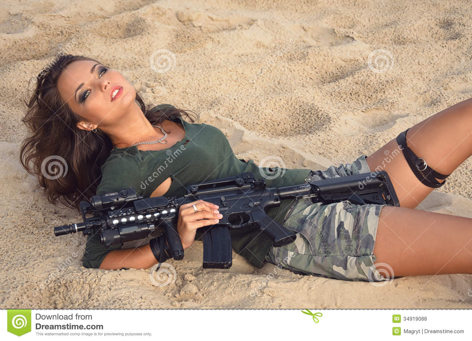gun and Sexy camo with girl