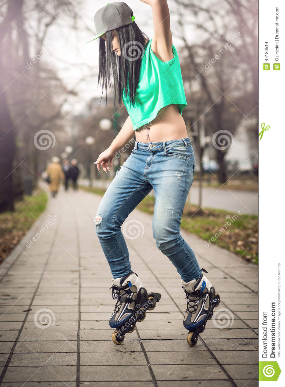Rollerblade / Roller Skating Woman Stock Images - Image
