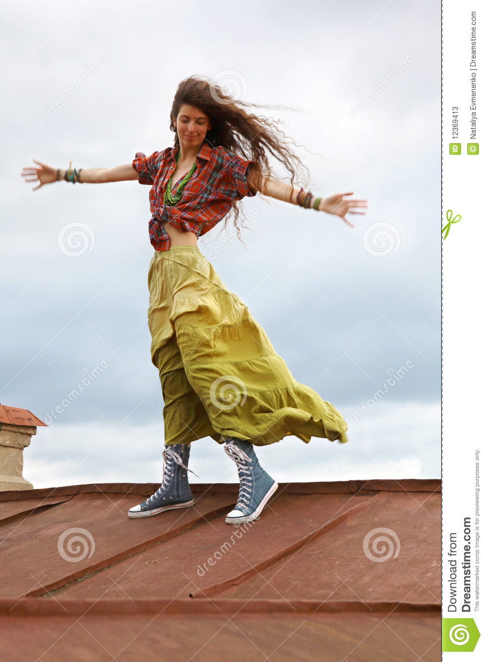Girl On A Roof Stock Photos Image 12369413