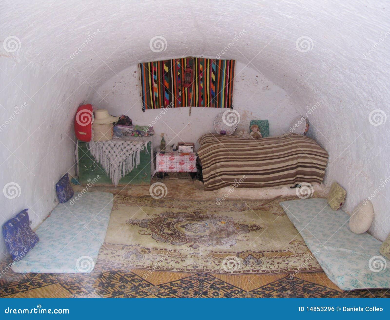Girl room troglodyte house Tunisia