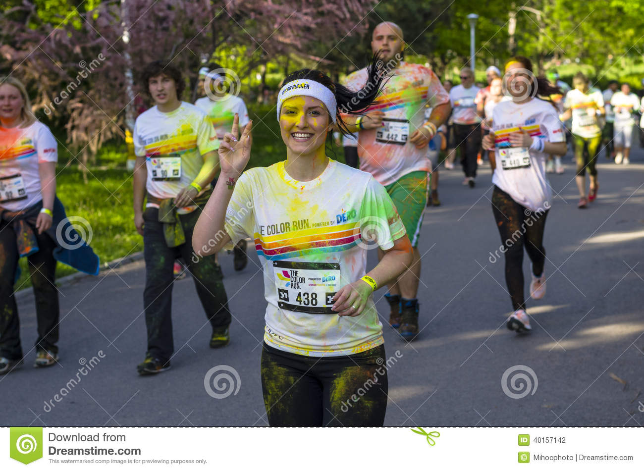 Girl runner showing peace sign