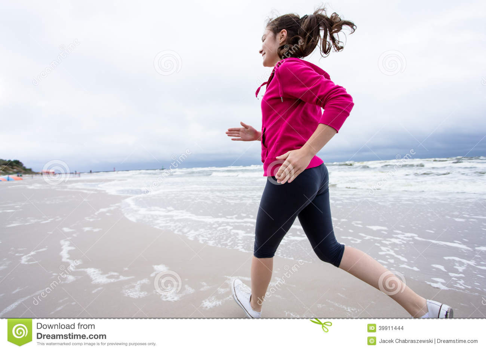 Girl Running On Beach Stock Photo - Image: 39911444 Girl Running On Beach